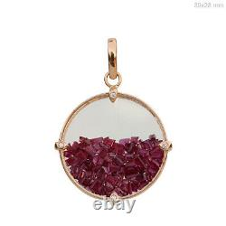 Solid 14k Rose Gold Crystal, Ruby Round Shaker Pendants