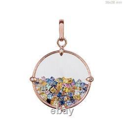 Solid 18k Rose Gold Crystal, Multi Sapphire Shaker Pendants