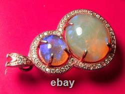 Solid Crystal Opal (1.58 and 5.8) carat and 3g 18K Rose Gold Plated Pendant