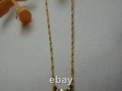 Spectacular 14K Yellow Gold Chain + Rose Quartz Pendant Combo Slot 350-R