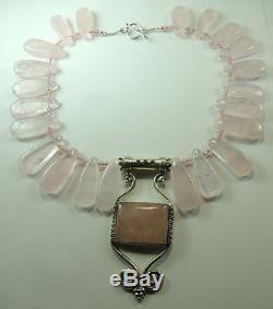 Statement Rose Quartz Necklace Large Pendant Earring Set Sterling Wedding