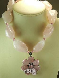 Statement Rose Quartz Nugget Necklace & Pink Flower Pendant Wedding Handcrafted