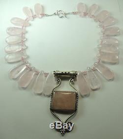 Statement Rose Quartz Teardrop Necklace with Large Pendant & Earrings Sterling
