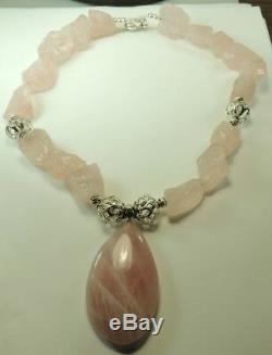 Statement Rough Rose Quartz Chunky Necklace Teardrop Pendant Sterling Silver
