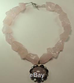 Statement Rough Rose Quartz Necklace Pendant Garnet Blue Topaz Wedding Handmade