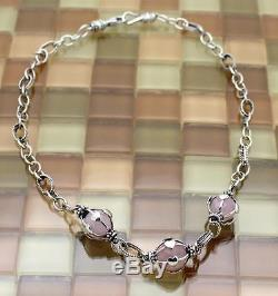 Sterling Silver Ball Shaped Rose Quartz Heart Cage Unique Necklace, 37.4 G, 19