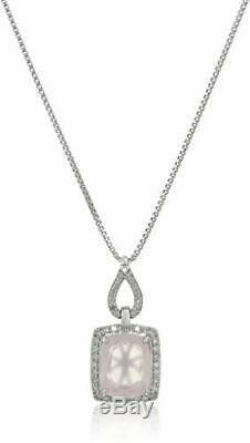 Sterling Silver Cushion Cut Rose Quartz with Diamond Pendant Necklace 1/5cttw