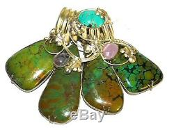 Sterling Silver Wide Slide Pendant for Necklace Turquoise & Amethyst Floral