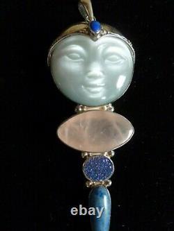 Sterling silver large Sajen pendant White goddess face Rose quartz druzy Lapis