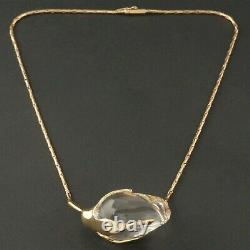 Steuben Glass Solid 14K Gold, Rose Bud Crystal Pendant, Necklace with Boxes