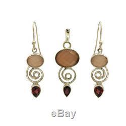 Stunning Rose Quartz & Garnet 925 Sterling Silver Earrings With Pendant For GIFT