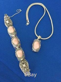 Stunning Vintage Chinese Sterling Silver Enamel Rose Quartz Pendant Bracelet Set