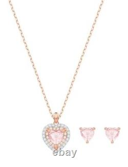Swarovski One Rose Gold Tone Pink Crystal Heart Pendant And Earring Gift Set