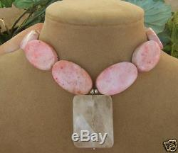 Sweet Pink Turquoise Gemstone Clear Icy Quartz Pendant Necklace Sterling Silver
