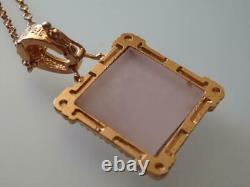 TAGLIAMONTE Necklace RGP/SS Rose Quartz Cameo enhancer bale+cable chain 46cm