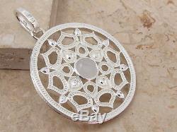 THOMAS SABO Large Designer Sterling Silver 925 & Rose Quartz Lotus Pendant