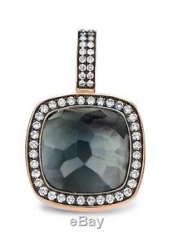 TIRISI 18K Rose Gold Hematite, White Quartz, Diamond Pendant, Clip-on Bale NEW