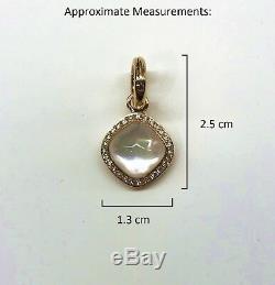 TIRISI 18K Rose Gold, White Quartz, Diamond, Mother-of-PearL Pendant/Charm NEW