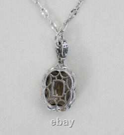 Tacori 925 Sterling Silver 18k Rose Gold Smoky Quartz Pendant Necklace