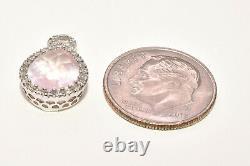 Tear Drop Rose Quartz & Diamond Charm Pendant in 18k White Gold