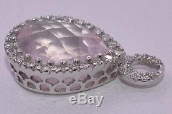 Tear Drop Rose Quartz & Diamond Earring Charm/Pendant in 18k White Gold