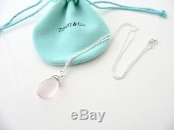 Tiffany & Co 20 Carat Pink Rose Quartz Necklace Pendant Charm Chain Silver Rare