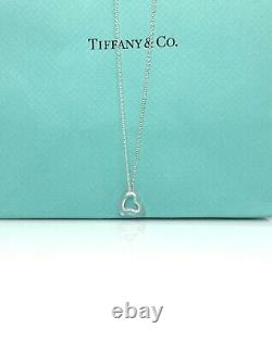 Tiffany & Co. Elsa Peretti-Rose Crystal Open Heart Pendant Necklace 16 TC138