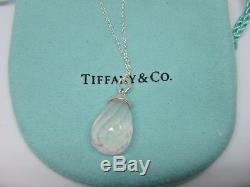 Tiffany & Co. Picasso Sterling Silver faceted Rose Quartz Drop Pendant Neck 18
