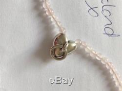 Tiffany & Co Rare Sterling Silver Heart Door Knocker Rose/Pink Quartz Necklace