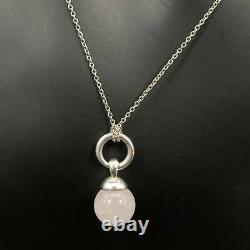 Tiffany & Co. Rose Quartz Stone Pendant Necklace Silver 925 Roze Quartz tf1382