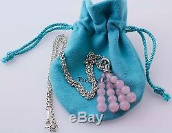 Tiffany & Co Silver Pink Rose Quartz Dangle Tassel Pendant Necklace Thick Chain