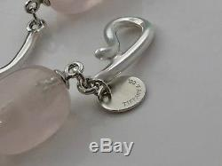 Tiffany & Co. Silver Pink Rose Quartz Gem Twirl Necklace Pendant 18.5L 18612A