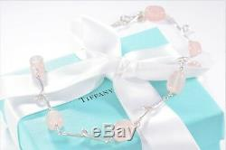 Tiffany & Co Silver Pink Rose Quartz Stone Twirl Pendant Necklace Twist +Pouch