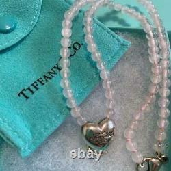 Tiffany & Co. Vintage Necklace Sterling Silver 925 Rose Quartz Heart Charm