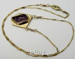 UNIQUE 14K GOLD 19 Chain Necklace Star Rose Quartz & Charoite Pendant SET