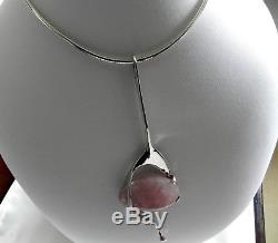 UNIQUE STUDIO 46g sterling silver 925 rose quartz pendant choker collar necklace