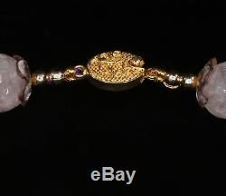 Unenhanced Lavender Amethyst Necklace, Carved Vintage Rose Quartz Pendant