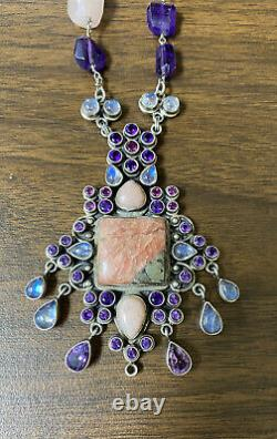 Unique Nicky Butler Sterling Silver 925 Multi Stone Amethyst Pendant Necklace