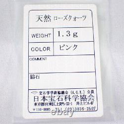 Used Barneys NY 18PG Rose Quartz Pendant Necklace g383-5