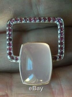 Very Large 14K Gold 16.2 carat Rose Quartz Ruby Custom Design Modern Pendant