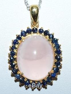 Victorian 15.74ctw Genuine Rose Quartz & Blue Sapphire 925 Silver Pendant 10g