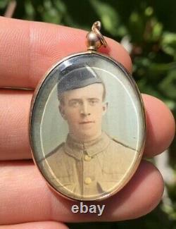 Victorian 9k 9ct Rose Gold Military Portrait Photo Rock Crystal Locket Pendant