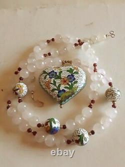 Vintage 10k Gold Cloisonne Rose Quartz Garnet Large Heart Pendant 28 Long 122gr