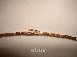 Vintage 14 Kt Solid Yellow Rose Gold Smokey Quartz Tassle Pendant Necklace 17 L