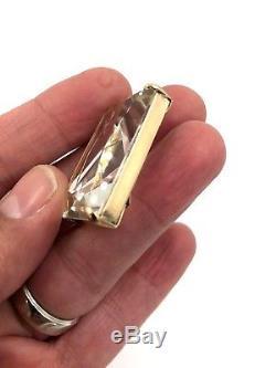 Vintage 14K Rose Gold Clear Topaz Quartz Huge Pendant Signed