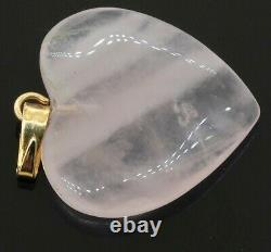 Vintage 14K yellow gold elegant 20 x 20mm Rose quartz heart pendant
