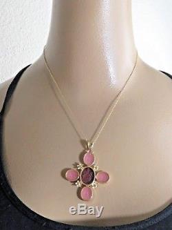 Vintage 14k Intaglio Necklace ROSE QUARTZ ANGELS LIONS Pendant Large Size