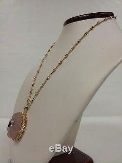 Vintage 18K Yellow Gold Rose Quartz with Diamond and Ruby Necklace Handmade