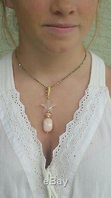Vintage 18k Gold Peridot Rhodochrosite Rose Quartz Star Pendant/18k Gold Pendant