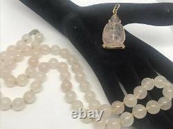 Vintage 18k Rose Quartz Carved Buddah Pendant And Hand Knotted Bead Necklace